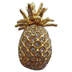 Sparkling Pineapple Figural Swarovski Crystals Brooch Pin