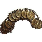 Corocraft 1940s Henry IV Gold Plated Coin Vintage Signed Bracelet