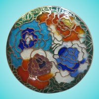 Beautiful Vibrant Enamel Cloisonne Flower Japan Amita Vintage Brooch Pin