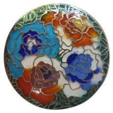 Beautiful Vibrant Enamel Cloisonne Flower Japan Amita Vintage Brooch Pin