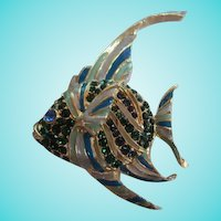 Adorable Angel Fish Figural Blue Green Enamel and Crystal Rhinestones Vintage Brooch Pin