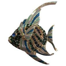 Adorable Angel Fish Figural Blue Green Enamel and Crystal Rhinestones Vintage Brooch Pin