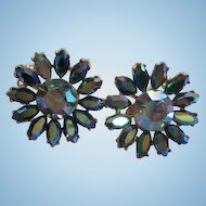 Sparkling Blue AB Swarovski Crystal Rhinestone Flower Figural 1950s Vintage Clip Earrings