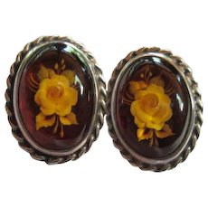 Genuine Amber Reverse Carved Flowers Sterling Silver Vintage Post Earrings