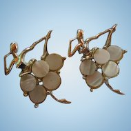 Art Deco Pair Ballerina Mother of Pearl MOP  Gold plated Set Vintage Brooches Pins
