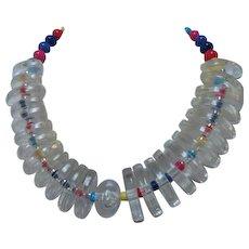 Fabulous Lucite Colored Bead Statement Vintage Necklace