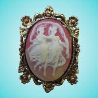 Classic Two Graces Cameo Elaborate Gold Tone Frame Vintage Brooch Pin Pendant