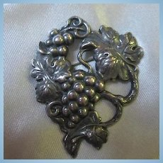 Lovely Older Grapes and Vines Sterling Silver Vintage Brooch Pin