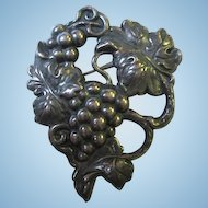 Lovely Older Grapes and Vines Sterling Silver Vintage Brooch Pin