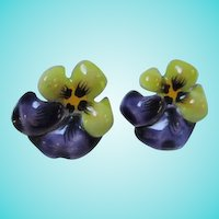 Stunning Art Nouveau Enamel Pansy Flowers Signed Sterling Silver Screw Back Vintage Earrings