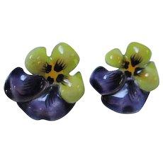 Stunning Art Nouveau Enamel Pansy Flowers Signed Sterling Silver Screw Back Vintage Earrings