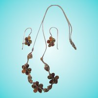 Natural Amber Flowers  Sterling Silver Necklace  Earrings Set