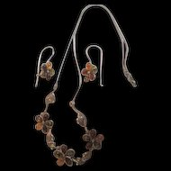 Art Nouveau Style Natural Amber Flowers Delicate Leaves Sterling Silver Vintage Necklace and Matching Earrings Set Demi