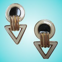 Signed Art Deco Style Classic Black White Gold Plated Vintage Statement Earrings