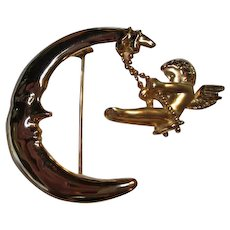 Signed Danecraft Man in Moon and Swinging Angel Cupid Figural Vintage Brooch Pin