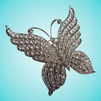 Sparkling Huge Art Deco Style Austrian Crystal Rhinestone Butterfly Figural Brooch