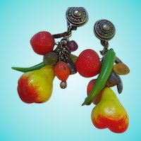 Fun and Funky Carmen Miranda Huge Vintage Plastic Fruit Colorful Statement Earrings 1940s
