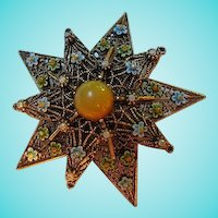 Signed ART Heraldic  Enamel Floral Flower Star Filigree Vintage Brooch Pin 1960s