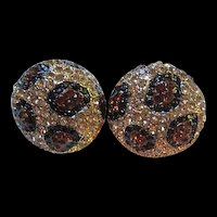 Sparkling Pave Set Swarovski Clear Black Gold Crystal Domed Vintage Clip Earrings