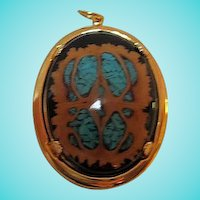 Gorgeous Southwestern Crushed Turquoise Inlay Walnut Shell Pendant