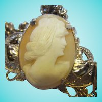 Lovely Carved Shell Cameo Woman's Profile Vintage Pendant Necklace