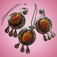 Mid Century Glazed Ceramic Cabochons Silver tone Vintage Necklace Earrings Set Demi