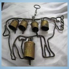 Shabby Chic Cow Bells Rustic Wrought Iron and Metal Bells Folk Art Rustic Primitive Vintage Wind Chimes