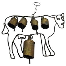 Shabby Chic Cow Bells Folk Art Wind Chimes