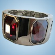 Stunning Bold Ruby Red Fully Faceted Emerald Cut Crystals Modernist Silver tone Stretch Vintage Statement Bracelet