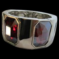 Stunning Ruby Red Faceted Emerald Cut Crystals Modernist Statement Bracelet