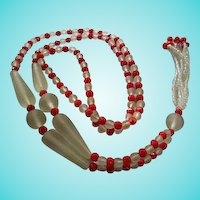 Gorgeous Flapper 1920s  Art Deco Glass Frosted Clear Red Faceted Fringe Vintage Necklace
