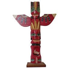 Vibrant 1950s Genuine Native American Indian Hand Carved Hand Painted Wood Totem Pole