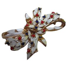 Patriotic Red White Blue Enamel Rhinestone Vintage Bow Brooch
