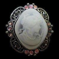 Beautiful Cameo Elaborate Frame AB Austrian Crystal Rhinestones Cabochons Vintage Brooch Pin
