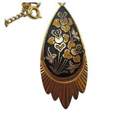 Lovely Unique Damascene Vintage Pendant Necklace