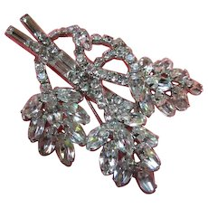 Gorgeous Sparkling Clear Crystal Rhinestone Flower Vintage Brooch Pin
