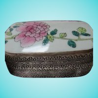Chinese Hand Painted Porcelain Flowers Vintage Box