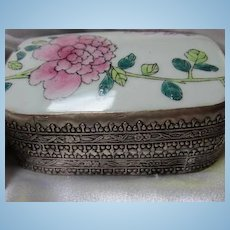 Chinese Porcelain Flower Hand Painted Cover on Beautiful Engraved Silver Metal Vintage Ceremonial Jewelry Trinket Box