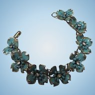 Rare Fabulous 1960s Flower Power Enamel Rhinestone Vintage Bracelet