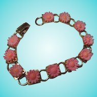 Pretty in Pink Celluloid Flowers 1950s  Bracelet