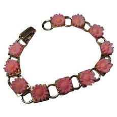 Pretty in Pink Celluloid Flowers 1950s Gold plated Vintage Bracelet