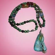 Gorgeous Aqua Blue Sea Glass Pendant Gorgeous Glass Beads Vintage Hand Made Necklace OAK
