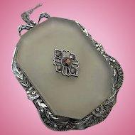 Magnificent Rare Art Deco Camphor Marcasite Sterling Silver Huge Vintage Pendant