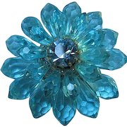 Signed Gorgeous Cornflower Blue Lucite Faceted Briolettes Sparkling Swarovski Crystal Center Vintage West Germany Brooch Pin