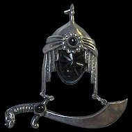 Fabulous Rare Sterling Silver Onyx Warrior Mask Turban Sword Figural Vintage Brooch Pin