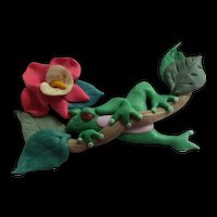 Whimsical Frog Hibiscus Polymer Clay Hand made Vintage Figural Brooch Pin