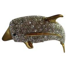 Huge Incredible Statement Swarovski Crystal Rhinestone Encrusted Dolphin Figural Gold Plated Vintage Shoulder Brooch Pin