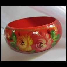 Stunning Wide Red Hand Painted Wood Russian Folk Art Bangle Bracelet