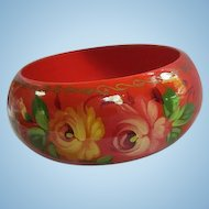 Stunning Wide Red Hand Painted Wood Roses Russian Folk Art Vintage Bangle Bracelet