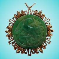 Vendome Signed Huge Asian Phoenix Bird fx Jadeite Green Statement Vintage Pendant Necklace